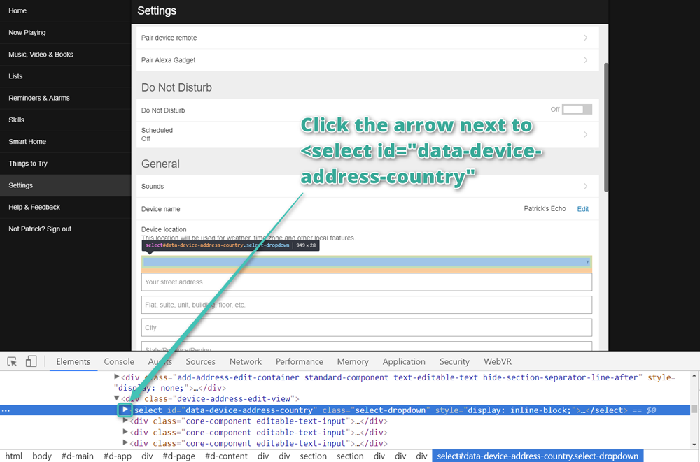 Click the arrow next to the select tag with data-device-address-country