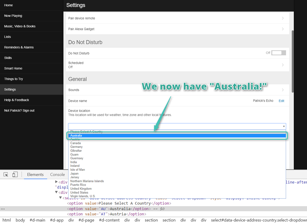 We now have Australia in the dropdown