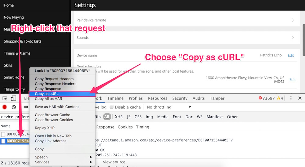 Right clicking the request and choosing copy as cURL