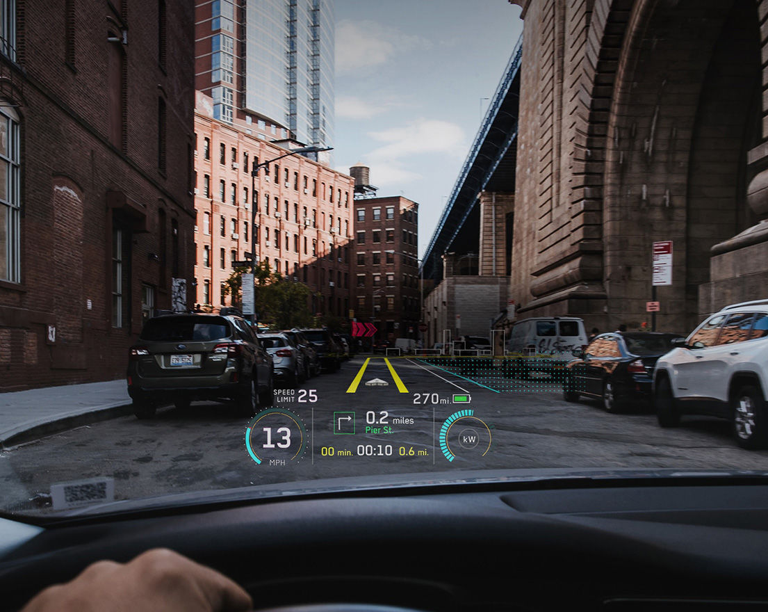 A shot of DAQRI's augmented reality car HUD
