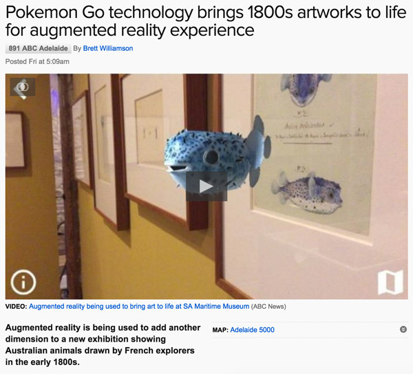 News article stating Pokémon Go technology brings 1800s artworks to life for augmented reality experience