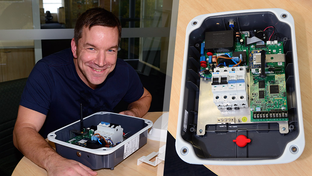 Filip Zalio and a OneBox opened up to reveal the electronics