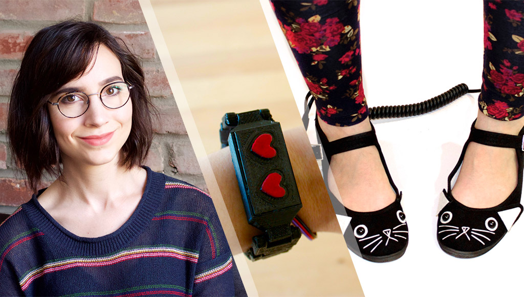 Suz Hinton, her anti-anxiety bracelet and cat themed connected shoes