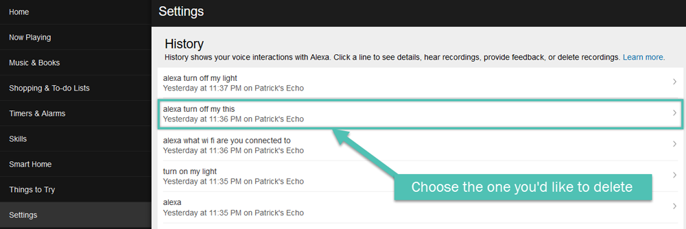 A list of recordings in the Alexa web app