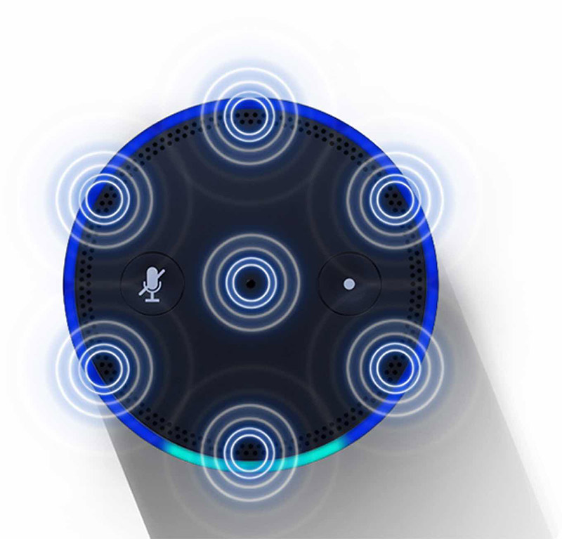 The Amazon Echo's top blue ring