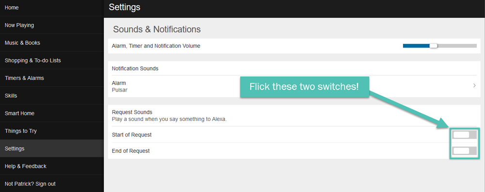 The Amazon Echo Sounds and Notifications page