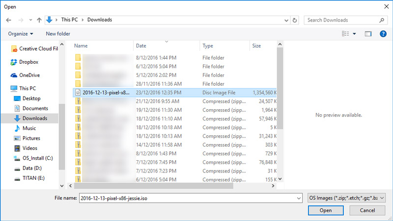 Windows Explorer with the downloaded file