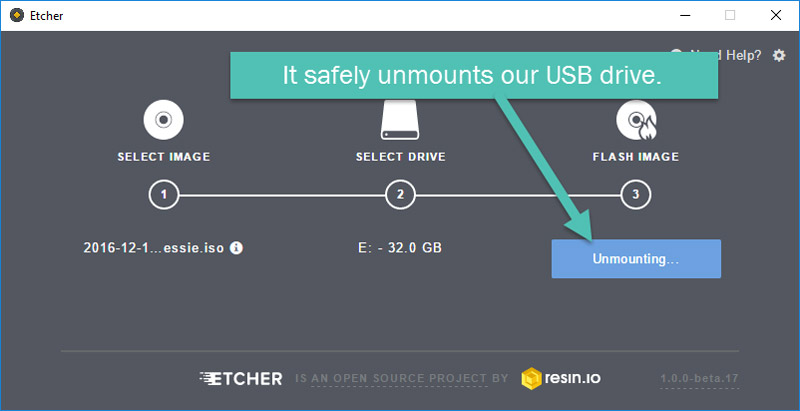 Etcher unmounting the drive
