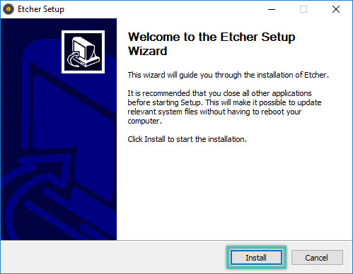 Screenshot of the install wizard with the Install button highlighted