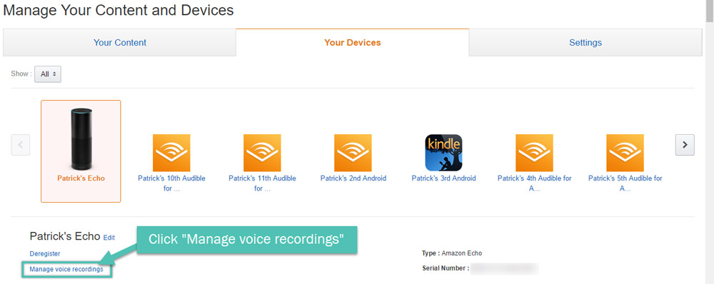 The My Devices tab with an Amazon Echo
