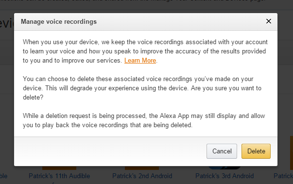 The Alexa pop up prior to deleting all messages