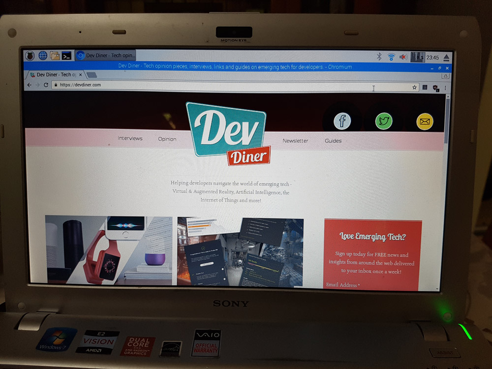A screenshot of the Dev Diner website loading successfully on the PIXEL