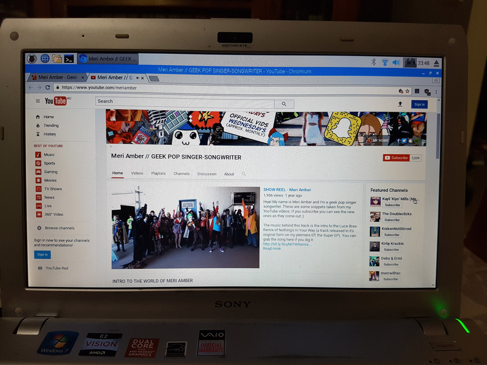 A screenshot of the Meri Amber YouTube running on PIXEL
