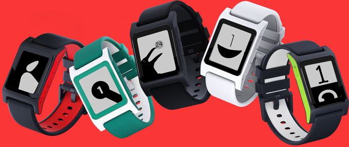 Five watches with the Simplications watchfaces on them