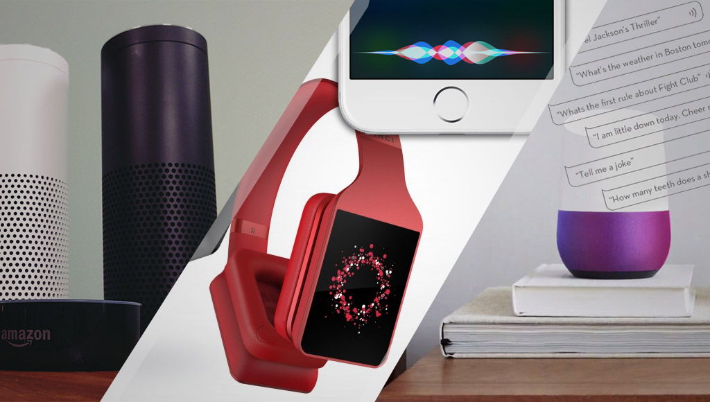 A collage of Echo, Siri, Google Home and Vinci headphones