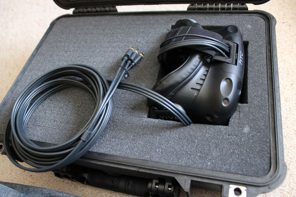 The Vive headset inside the case