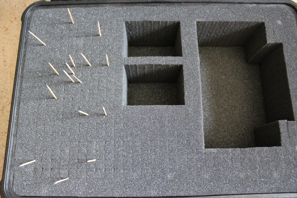 Toothpicks marking out the controller position in our case