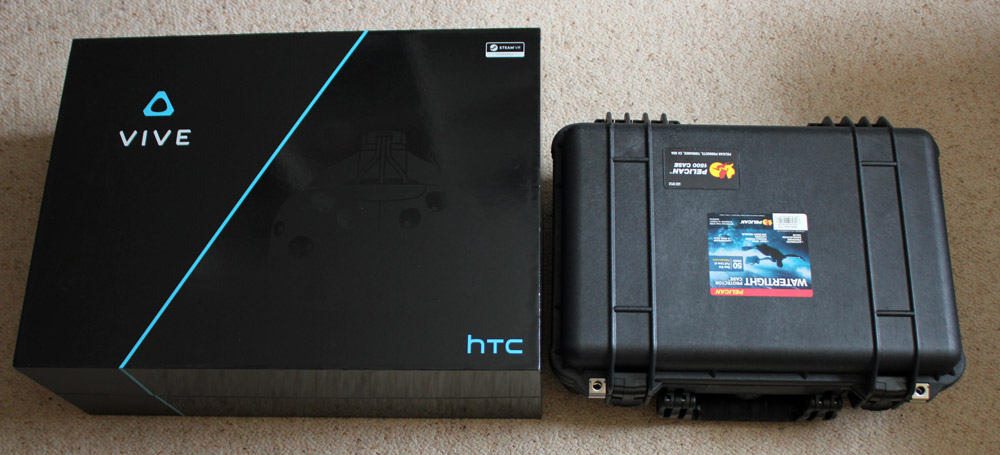The HTC Vive box and the Pelican 1500 side by side