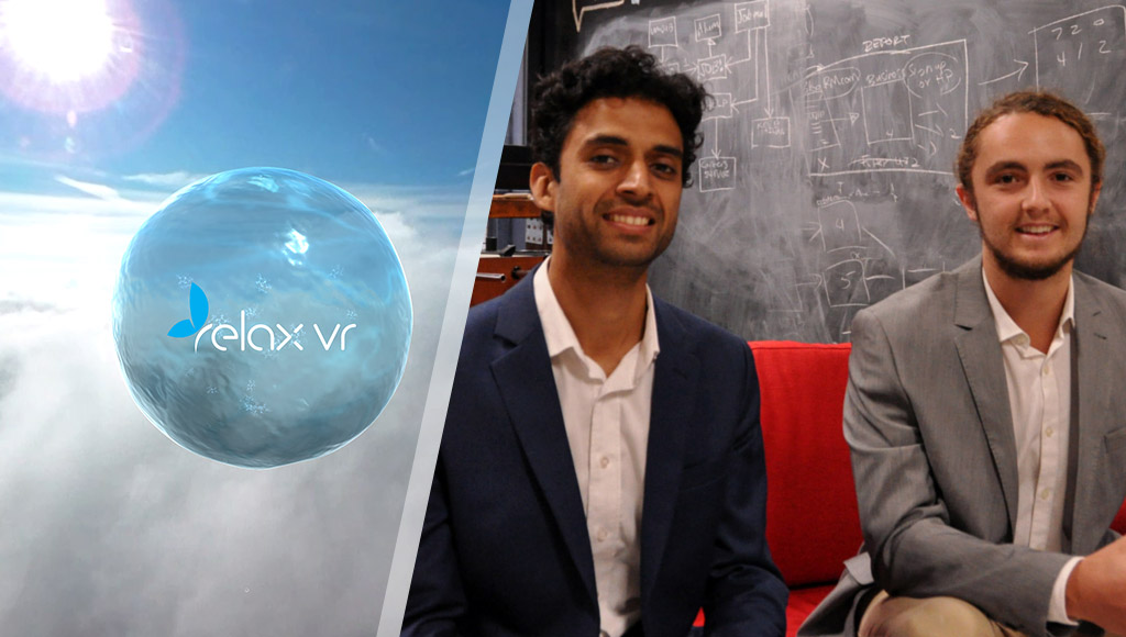 Sourabh Jain and Eddie Cranswick, alongside the Relax VR logo