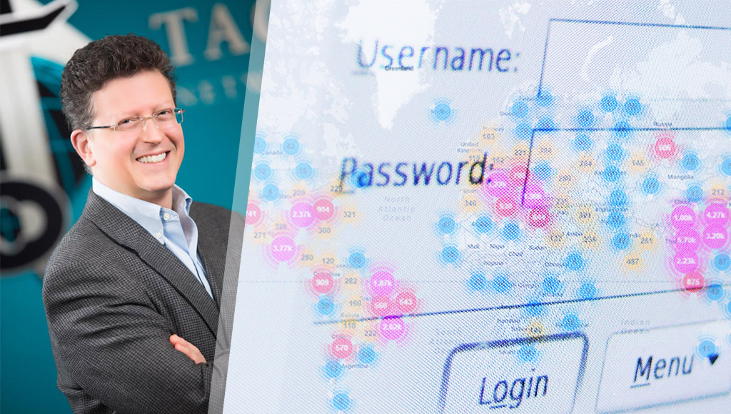 Terry Dunlap and an overlay of the Mirai botnet and a Linux password screen