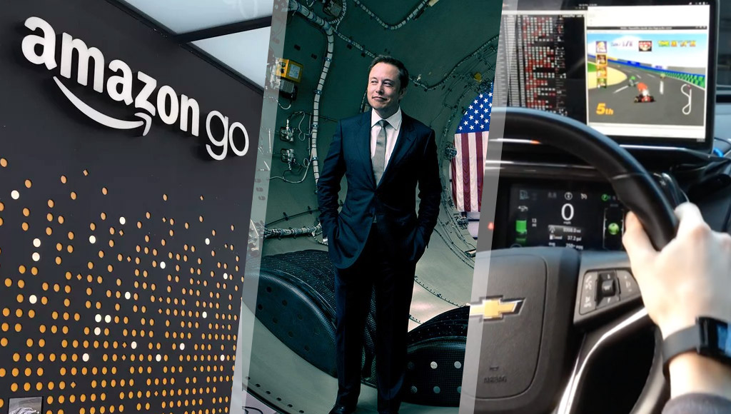 Amazon Go store, Elon Musk and Chevy Volt playing Mario Kart