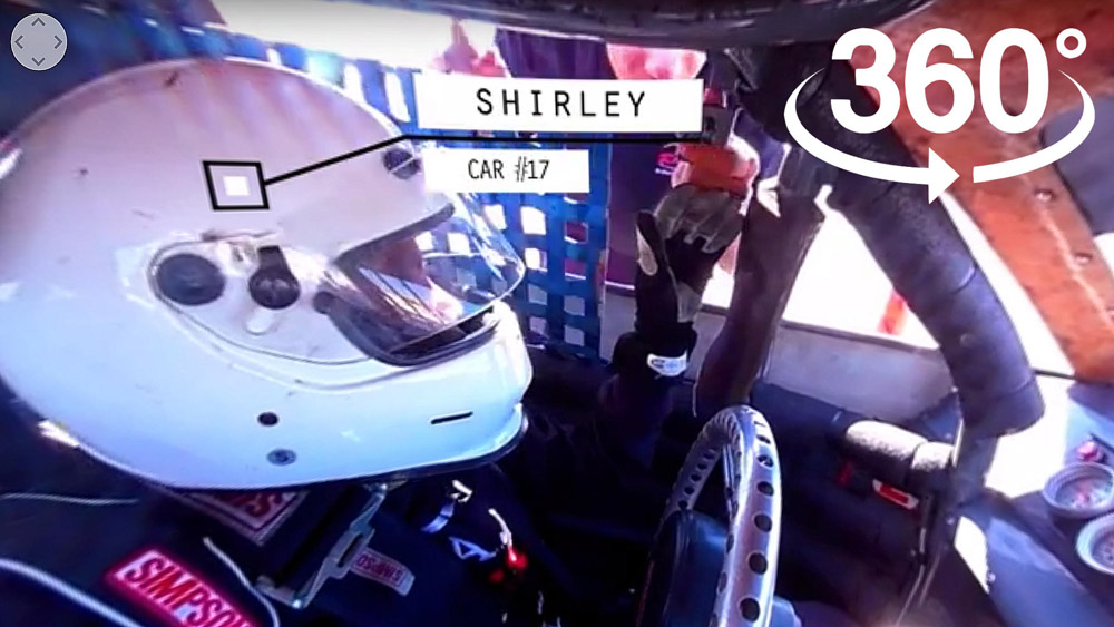 Joining Shirley McClure in her race car via 360 video