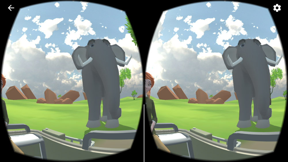 A child's view in the app of an elephant