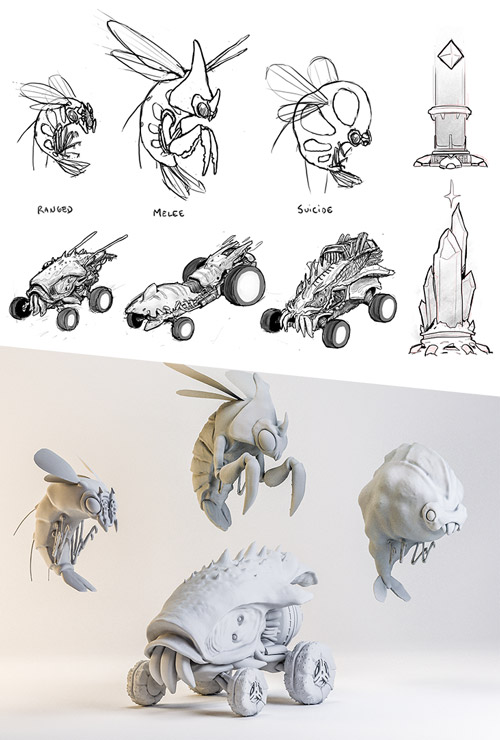 Sketches and 3D models of the characters