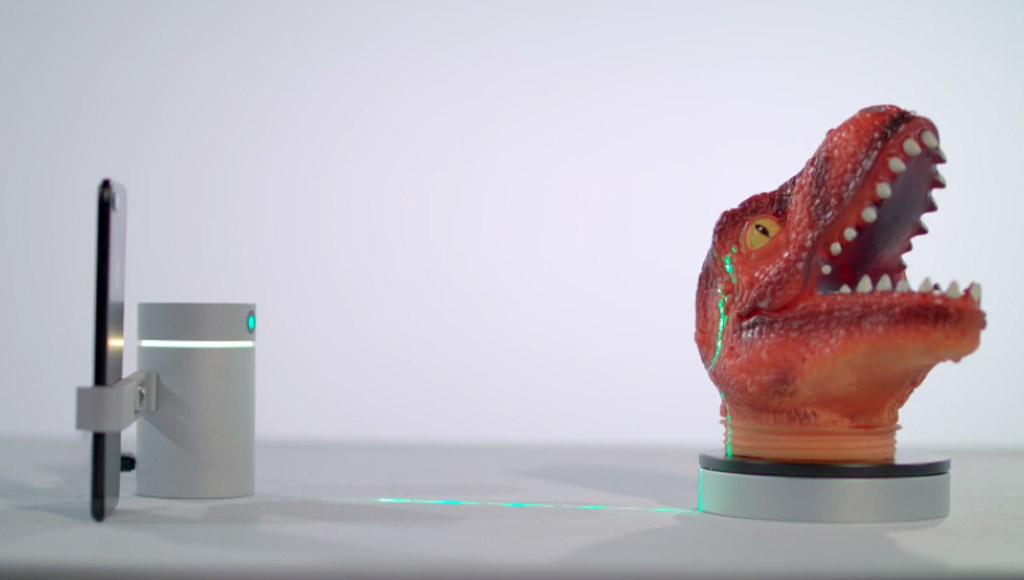 The EORA 3D scanner scanning a dinosaur head