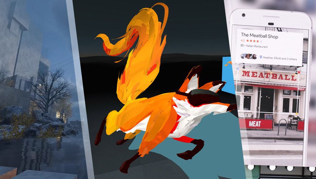 A WebVR scene, 3D sketch of the Firefox fox and a sample Google Lens image