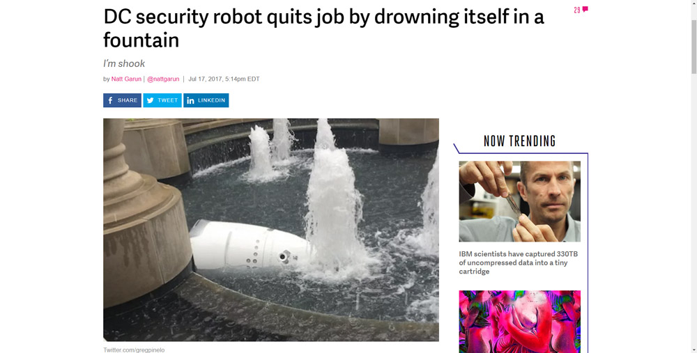 DC security robot quits job by drowning itself in fountain