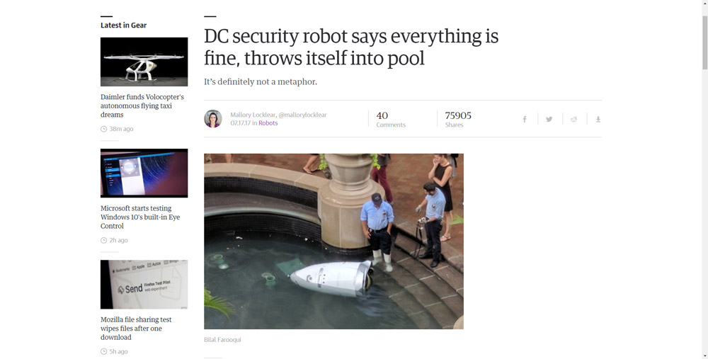 DC security robot says everything is fine, throws itself into pool