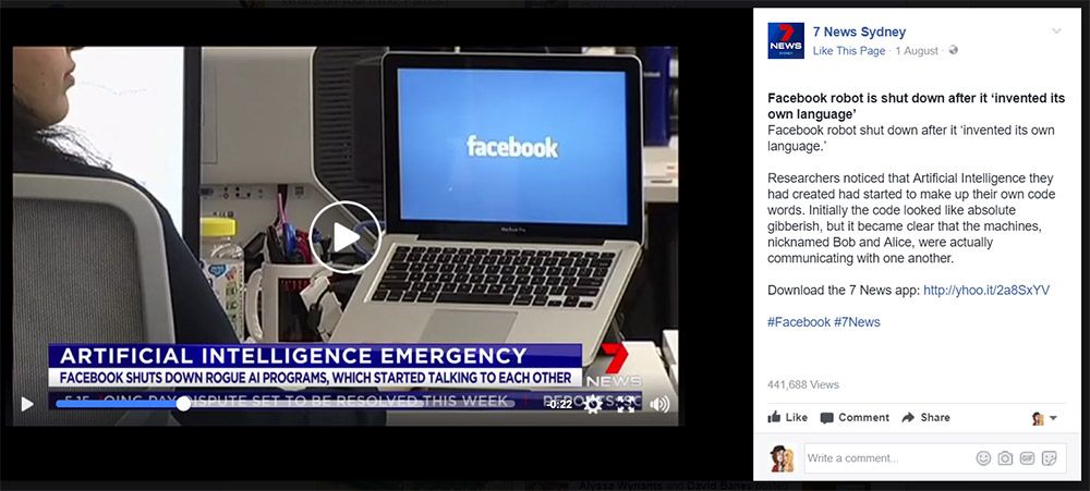 7 News story on Facebook's AI entitled Artificial Intelligence Emergency