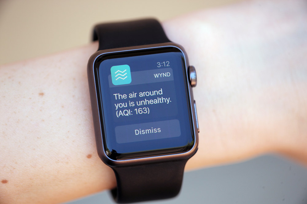 A Wynd notification on the Apple Watch