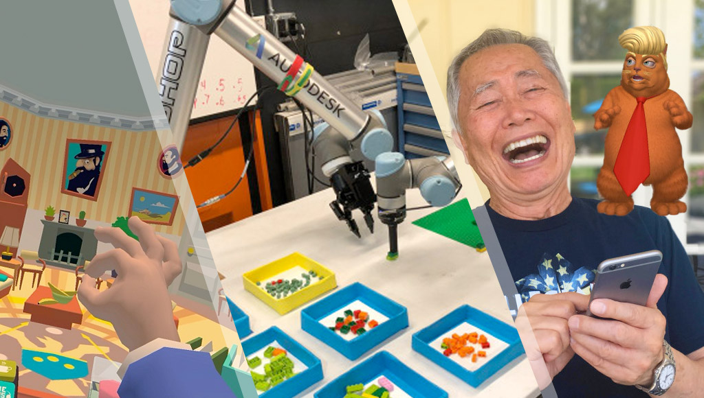 VR president simulator, Autodesk's Lego masterpiece constructing robot and George Takei with a cat version of Donald Trump