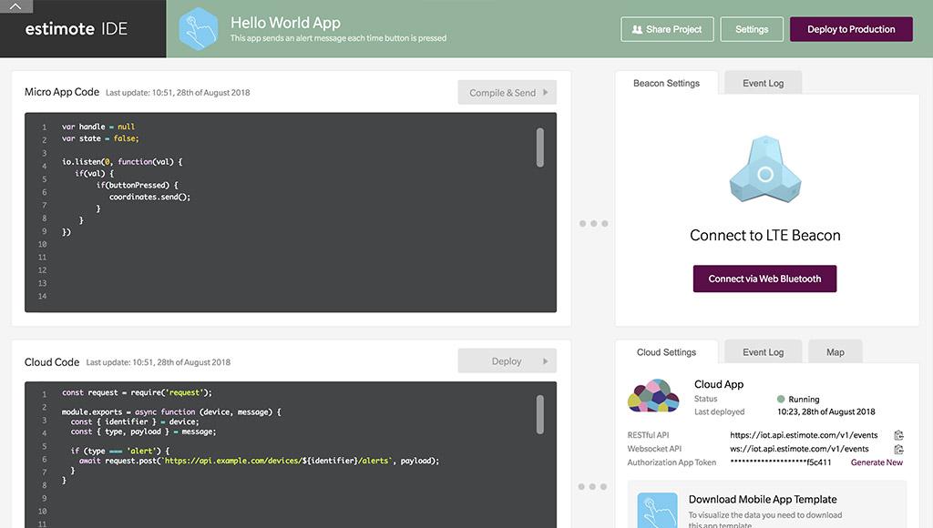 Estimote's web-based IDE
