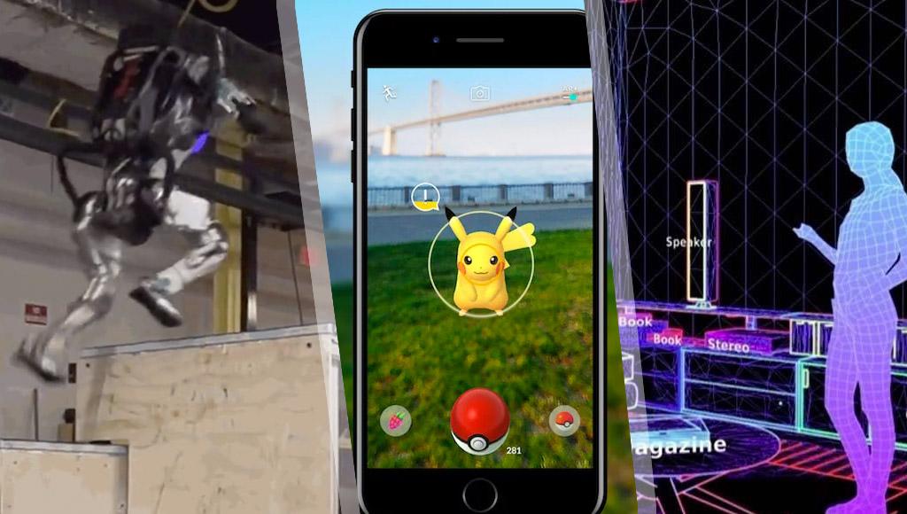 Boston Dynamics' parkour robot, Pokemon Go with ARCore and Magic Leap's AR/AI assistant concept