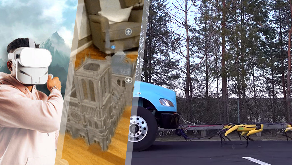 Feelreal, Notre Dame in AR and Boston Dynamics truck pulling robots