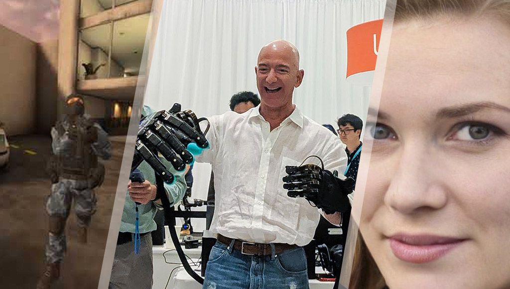 Pavlov VR, Jeff Bezos with robot hands and a fake AI-generated display pic