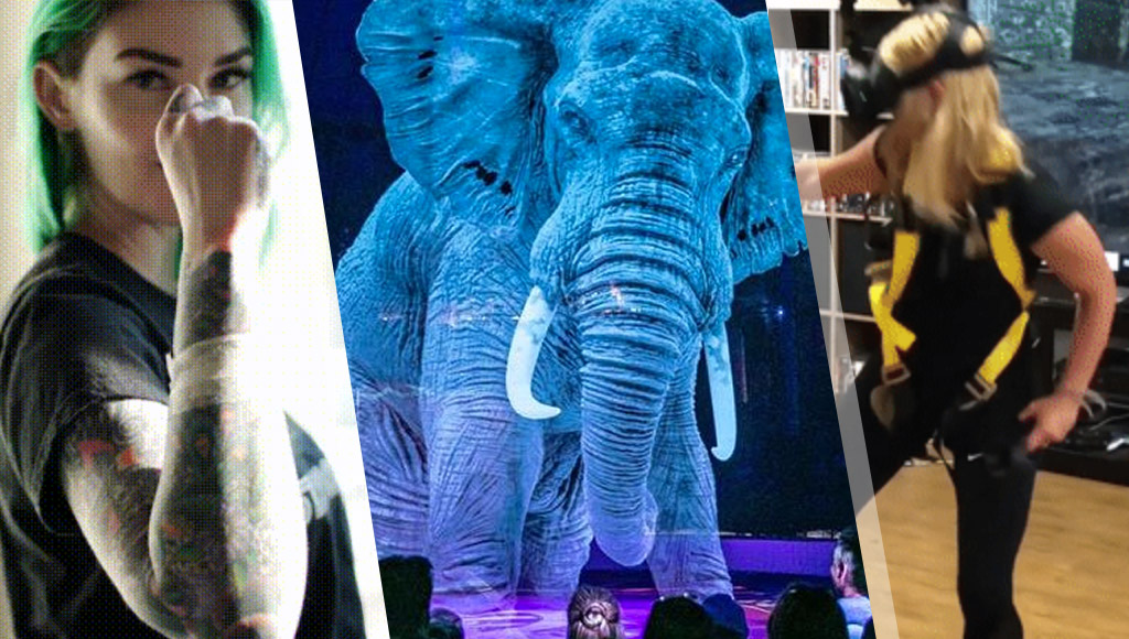 The Tesla key implant, ahologram elephantand bungee VR!