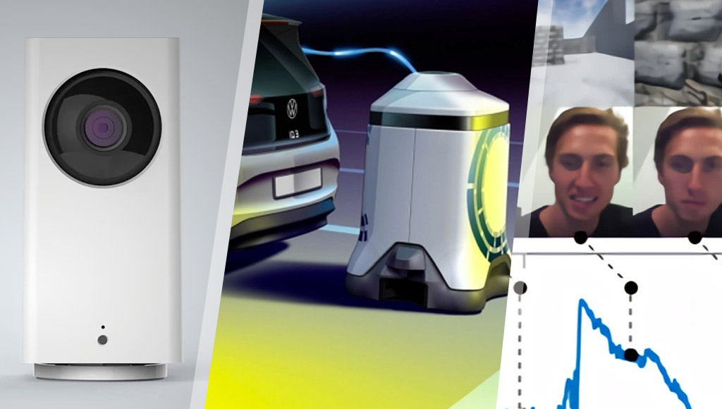 Wyze cam, robots recharging electric vehicles, smiles against machine learning